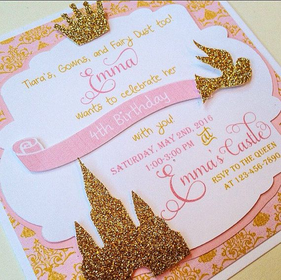 Princess Invitations | Gold and Pink Invitations | Gold Crown Invite | Girls 1st Birthday | Glitter Invitation