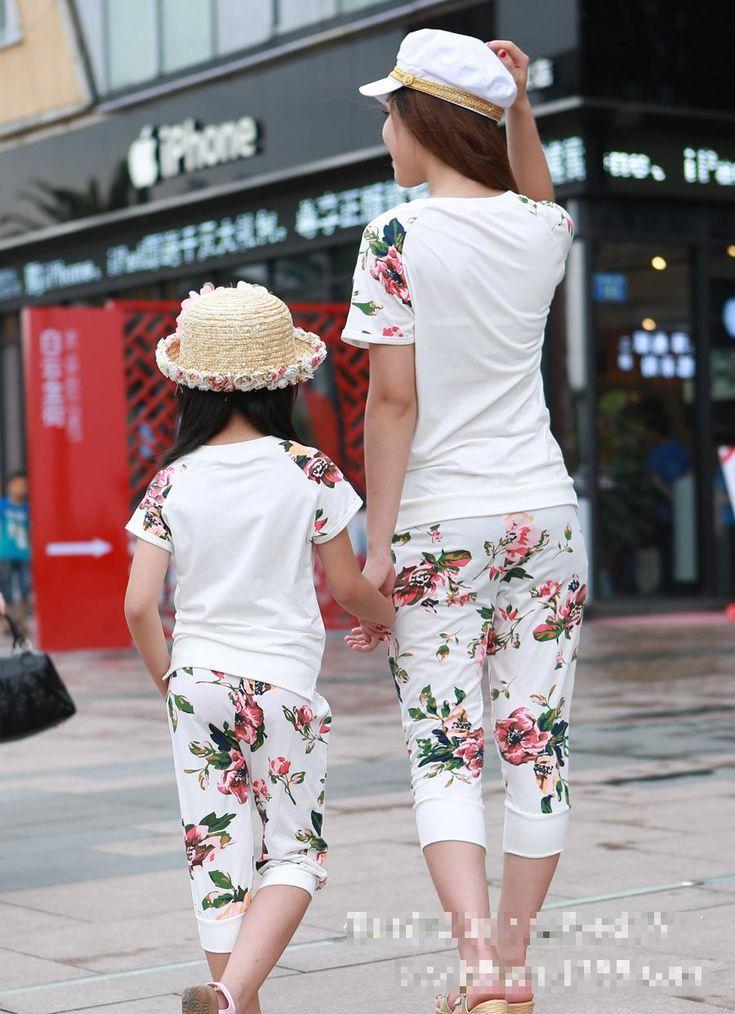 Verano nuevo algodón de la madre hija trajes a juego ropa de la familia madre e hija vestido de traje , padre , madre bebé fija los niños en Family Matching Outfits de Bebés en AliExpress.com | Alibaba Group
