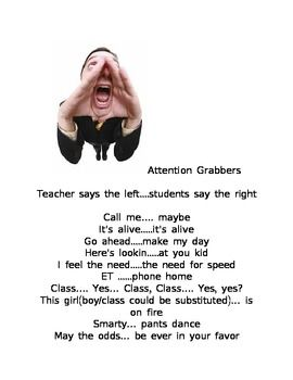 Fun Attention Grabbers- Get your students' attention witho