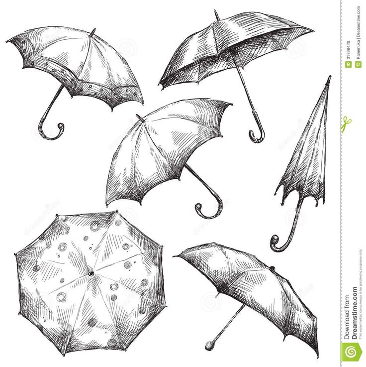 Ensemble De Dessins De Parapluie,