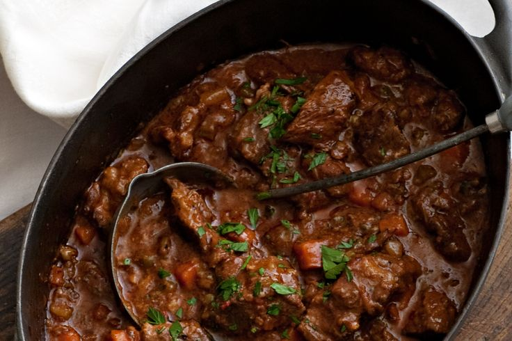This hearty Italian beef stew dish is enriched with the flavours of rosemary, sage and savoury pancetta.