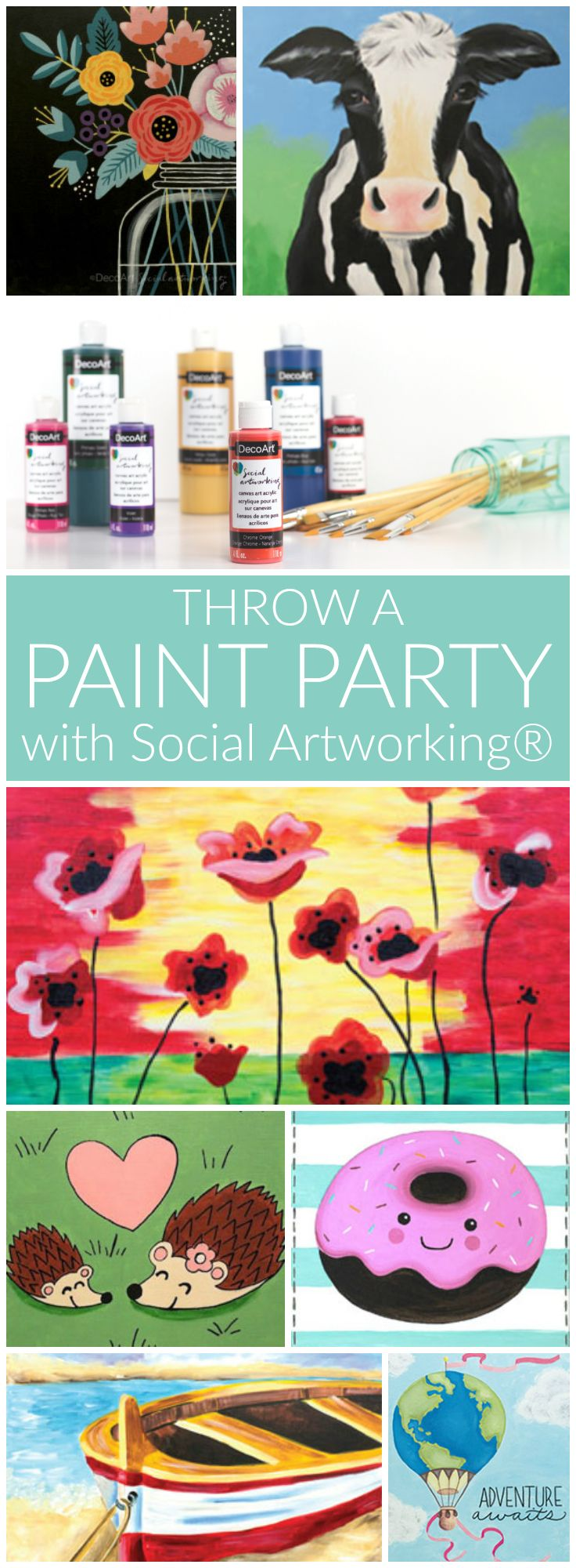 Throw a DIY paint party with Social Artworking® - Social Artworking® is a program created by DecoArt to make learning to paint on canvas and hosting a canvas painting party easy and fun. Our patterns and step-by-step instructions make it easy for the first-time painter to have 100% success! #SocialArtworking