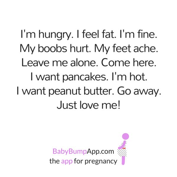 I'm hungry. I feel fat. I'm fine. My boobs hurt. My feet ache Leave me alone. Come here. I want pancakes. I'm hot. I want peanut butter. Go away. Just love me! #pregnancy #pregnancyproblems #momlife #mommyproblems #feedme #holdme #loveme