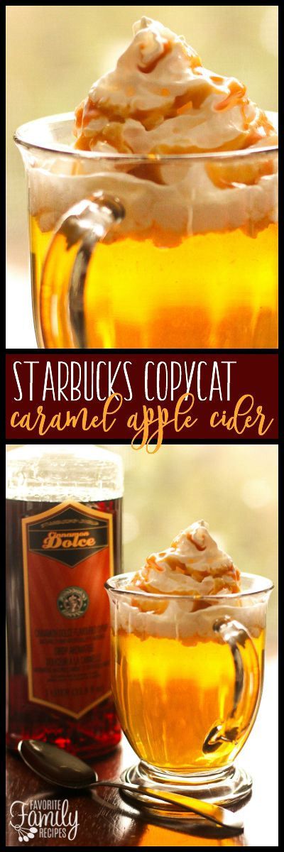 This Starbucks Caramel Apple Spice Cider Copycat is my Fall drink of choice! This delicious warm apple cider drink is THE actual recipe used at Starbucks. via @favfamilyrecipz