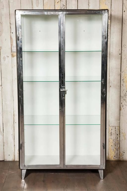 Vintage Industrial Midcentury Polished Medicine Cabinet | From a unique…