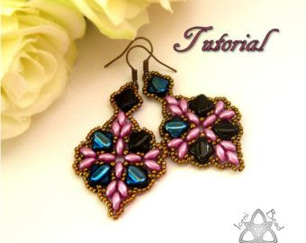 PDF Tutorial Clara Earrings with Super Duo от IceniBeadDesign