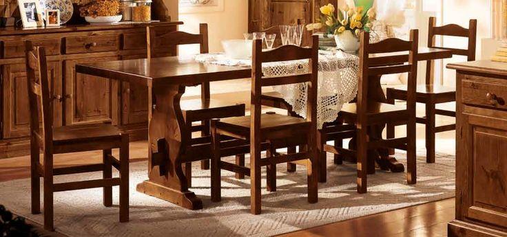 Tavolo fratino in pino massiccio cm. 250 x 90 spessore cm. 5 con sedie in pino massiccio. Produzione e vendita mobili rustici DEMAR MOBILI PINO. #catalogo #mobili #arredamenti www.demarmobili.it