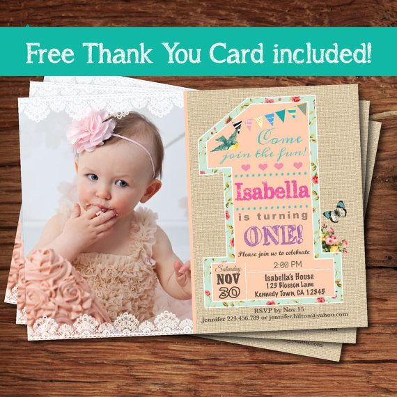 Girl 1st  first birthday invitation. The by ThePaperWingCreation, $15.00