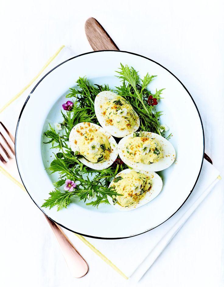 Recette Œufs farcis au chèvre et herbes fraîches : Faites durcir les œufs 10 mn dans une casserole d'eau bouillante. Passez-les sous l'eau froide, écalez-les et coupez-les en deux. Récupérez les jaunes et écrasez-les à la fourchette, puis mélangez-les à l'huile d'olive. Hachez les...