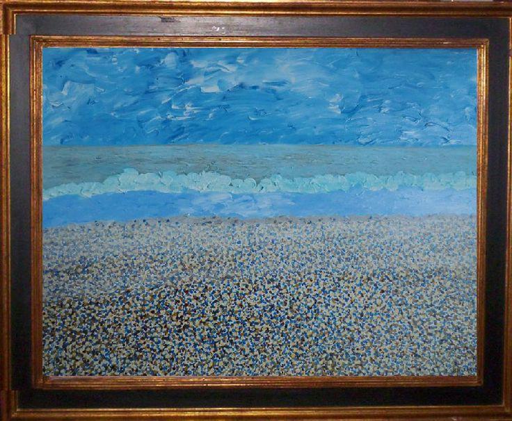 lucht zee strand in Haniëra acryl op opgespannen linnen 50 x 70 (zonder kader)