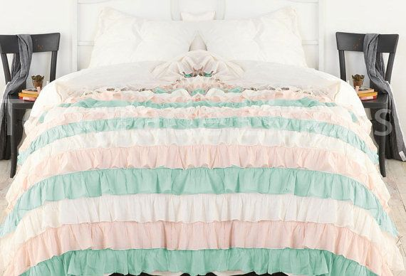 Aqua Pink White Ruffle Bedspread Set 3pc Egyptian Cotton