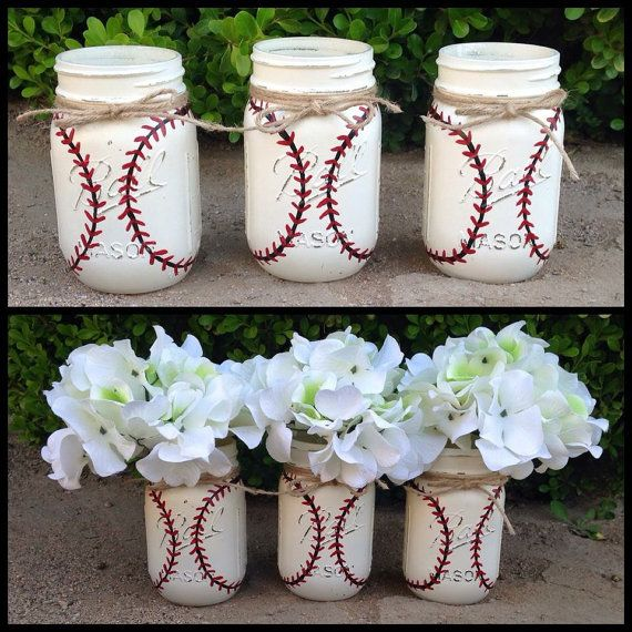 Set of 3 hand painted BASEBALL mason jars Home by FoisyDesignCo