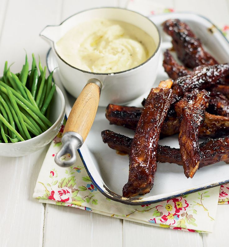 Recreate American-style diner food at home with this sticky ribs recipe which comes served with light and fluffy potatoes.