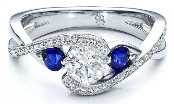 Joseph #Jewelry custom blue #sapphire and #diamond engagement ring via @ringspotters