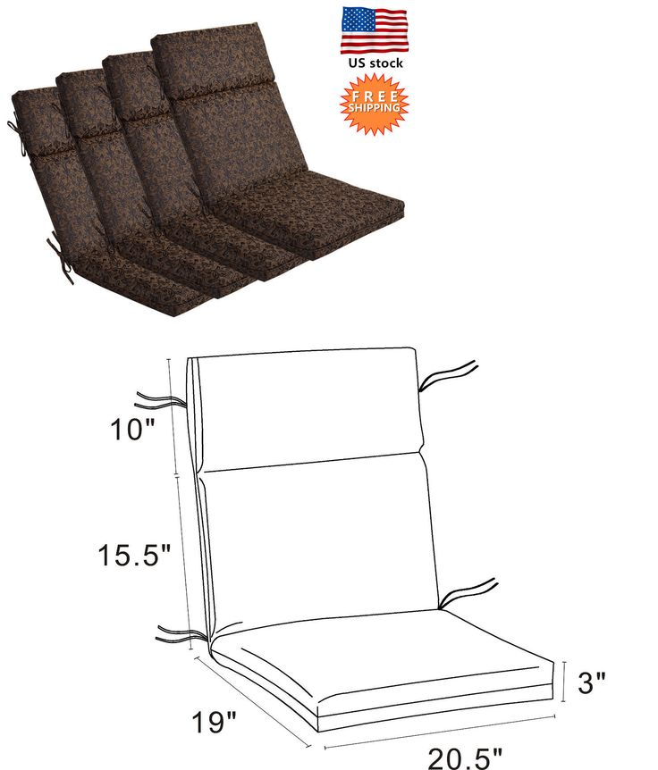 Cushions and Pads 79683: Bossima Outdoor Seat Pad Cushions Patio High Back Chair Set Black Gold, Set Of 4 -> BUY IT NOW ONLY: $159.99 on eBay!
