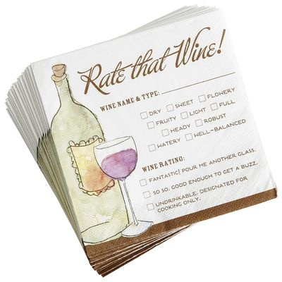 Rate That Wine Cocktail Napkins - this will be perfect for our annual holiday wine tasting get-together. Better stock-up!