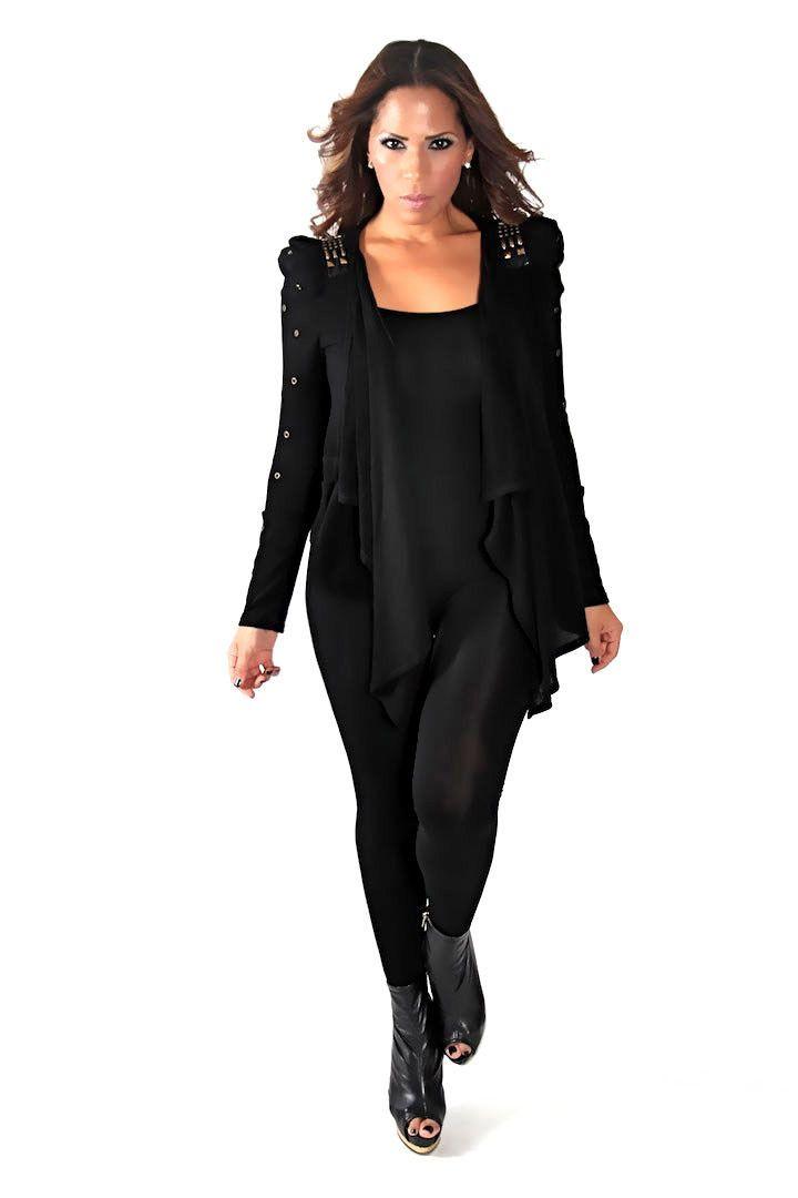 Black Long Sleeve With Studded Detailing Drape Cardigan