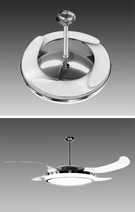 The FANAWAY can retract the fan blades when the fan is switched off.