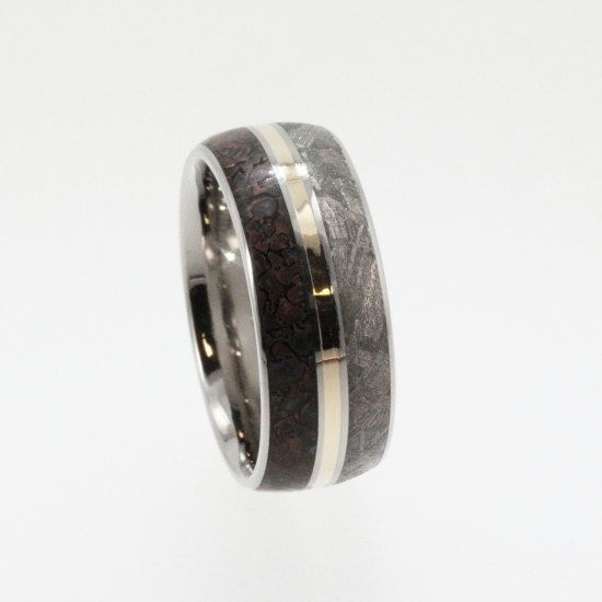 meteorite ring dinosaur bone and meteorite by jewelrybyjohan 89900 ok husband i know what - Dinosaur Bone Wedding Ring