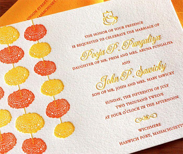 marigold letterpress wedding invitation by invitations by ajalon