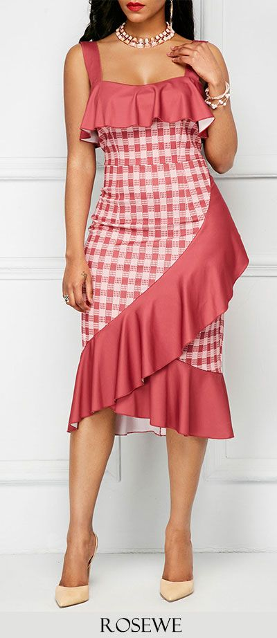 Open Back Ruffle Detail Frill Hem Sheath Dress