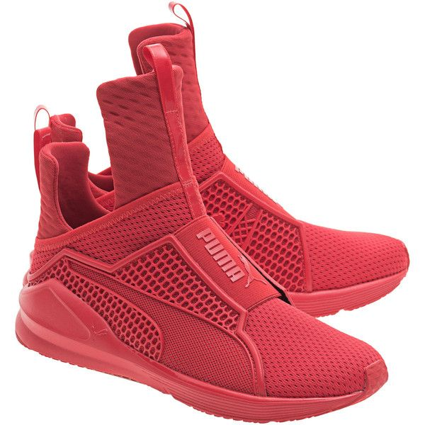 PUMA X RIHANNA Fenty Trainer High Risk Red // Limited sneakers (2.730.745 IDR) ❤ liked on Polyvore featuring shoes, sneakers, red trainer, strap shoes, strappy shoes, elastic strap shoes and strap sneakers