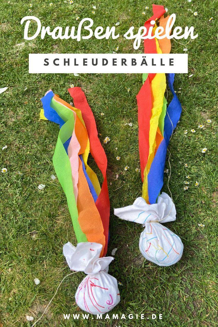 Diy Dienstag Schleuderball Und Mini Twirler In 2020 Kinder Basteln Draussen Kinder Spiele Draussen Krepppapier