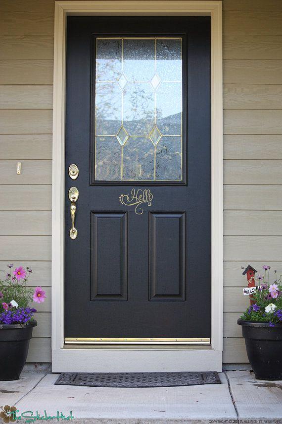 Fancy hello front door entry way vinyl wall decor word for Front door wall design