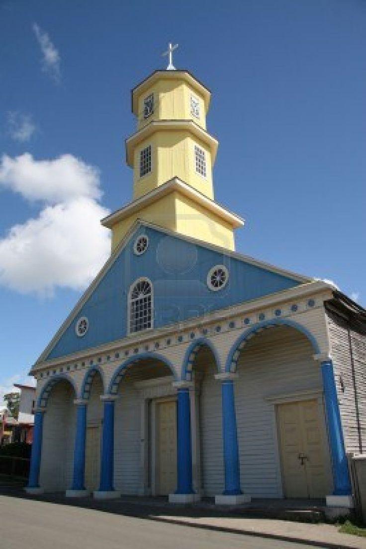 Famosa iglesia en la aldea Chonchi, en Chiloé, isla de Chile