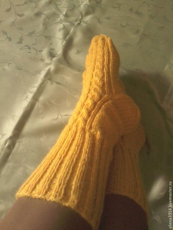 """Купить Носочки вязаные """" Солнышко"""" - желтый, носки, носки ручной работы, носки вязаные"""