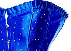 Plus size corset - Long Line Sturdy Steel Busk Cobalt Blue Corset with Diamantes by http://www.Baci-Farfalle.com