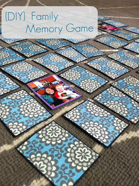 Family memory game. Glue pictures of family members onto scrapbook paper, laminate, and help little ones learn the names of family members who they may not see that often (like Nana and Poppy and Granny).