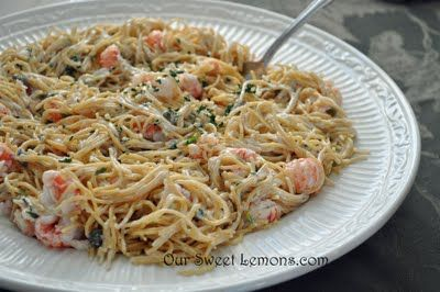 Langostino and Pasta in Lemon Caper Cream Sauce (the recipe is for a serving size of 8... I will be halving the ingredients)