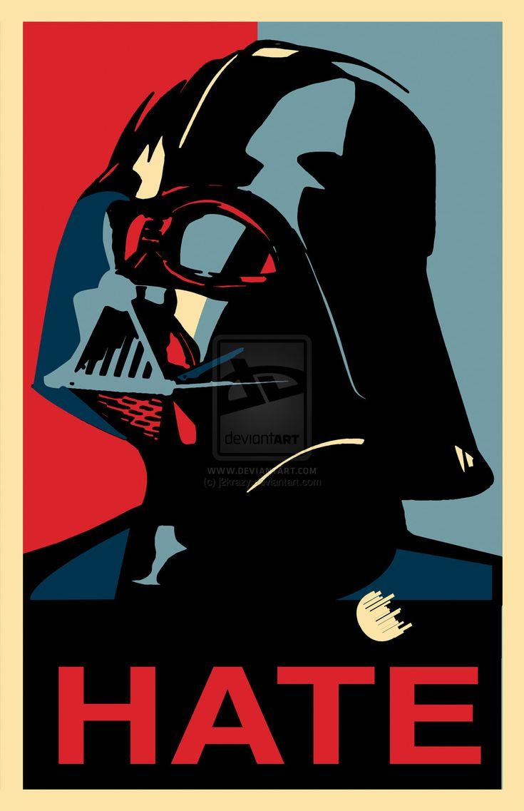 HATE Darth Vader, Shepard Fairey Style  Star Wars Pop Art.
