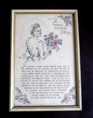 "Vintage Print Florence Nightingale Pledge Illustration Framed - Gifted to a graduating Nurse by a friend/family member, May of 1942. Just in time for full participation in World War II. This modified ""Hippocratic Oath"" was composed in 1893 by Mrs. Lystra E. Gretter and a Committee for the Farrand Training School for Nurses, Detroit, Michigan. It was called the Florence Nightingale Pledge as a token of esteem for the founder of modern nursing."