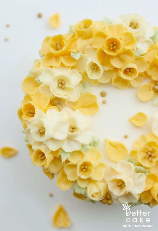 [베러케이크/베러케익] 노오란 수선화 버터크림플라워케이크 - 공덕역 마포역케익/베이킹클래스 : 네이버 블로그