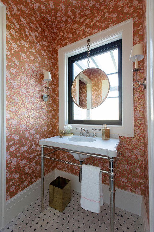 rose wallpaper, powder room, pedestal basin on chrome frame, marble basket weave mosaic tiles