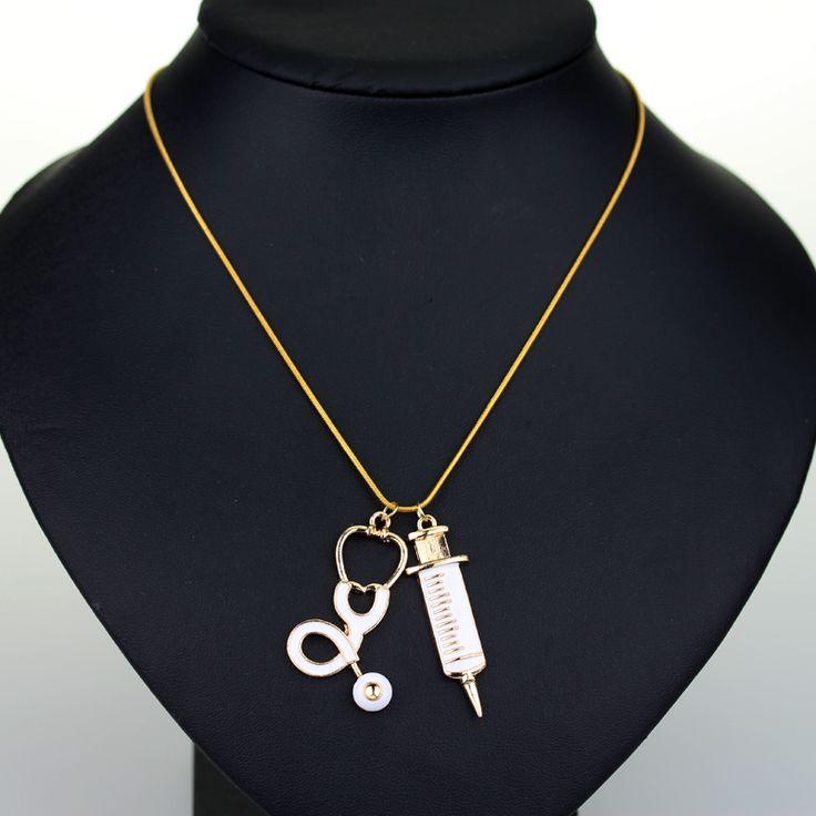 Fashion Medical Stethoscope Syringe Pendant Necklace NEEDLE Metal Charm Pendant For Cosplay Nurses Women Fashion Jewelry Gifts