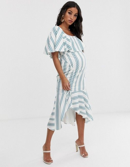 2ed9770d760 ASOS DESIGN maternity square neck striped midi dress with ruched skirt and pep  hem | ASOS