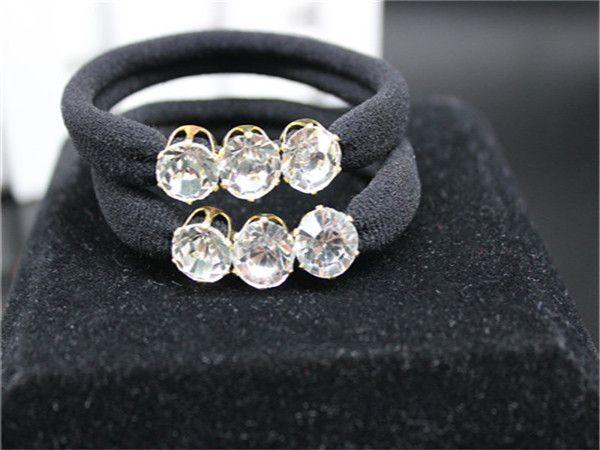 2 piecs Nouveau design de cristal fille porteurs de haute qualité en caoutchouc bande élastique de cheveux accessoires cheveux noirs femelle cravate à mâcher gomme