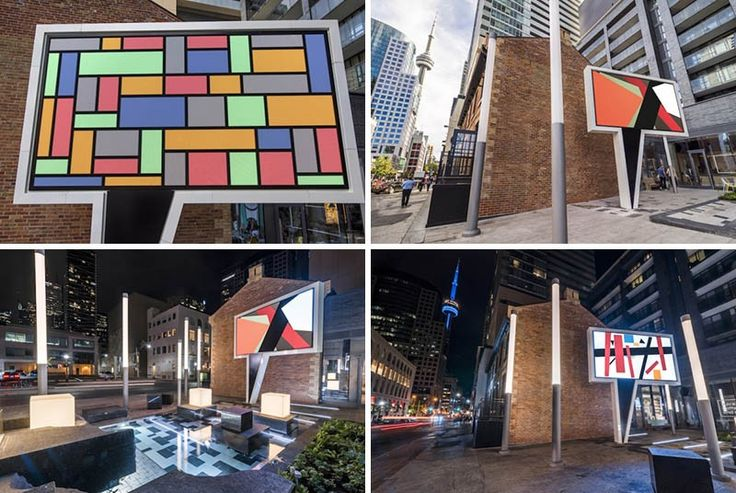 "A ""Speech Bubble"" Sculpture Has Been Installed In Toronto. The piece is an ever-changing art show that displays abstract images on a giant LED screen, that has been mounted on a structure in the shape of a cartoon speech bubble, fabricated by Toronto-based Eventscape."