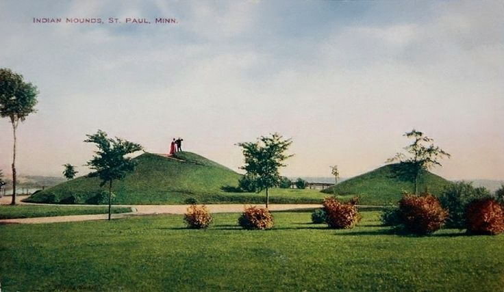 Indian mounds in st paul minnesota postcard never