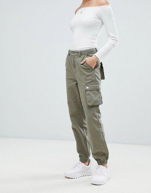Boohoo cargo pants in khaki