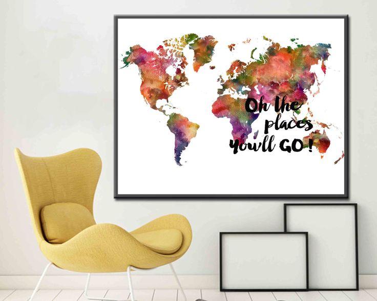 Kids World Map Places you'll go world Map Art Print World Map Poster World Map Print World Map Wall Decor Colorful World Map by DaniJArts on Etsy https://www.etsy.com/au/listing/262808721/kids-world-map-places-youll-go-world-map