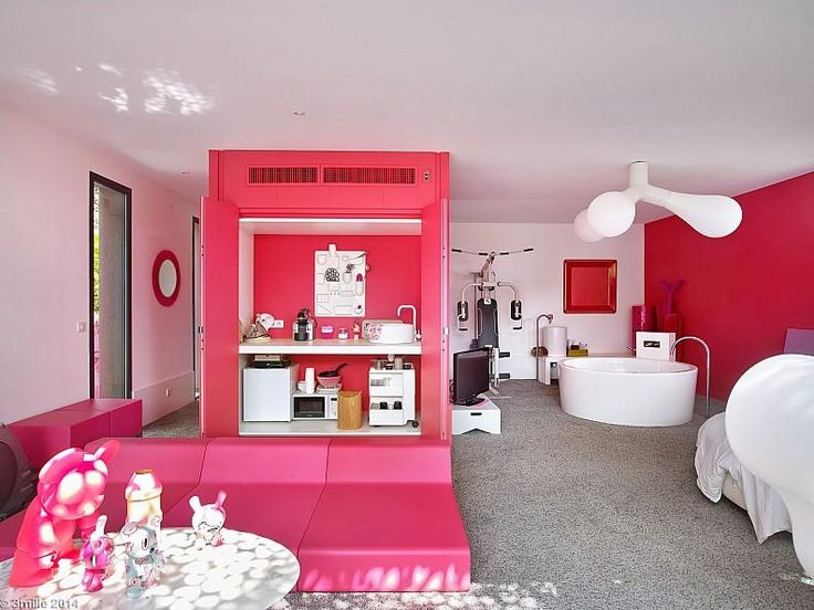Hotels & Resorts:Modern Home Villa In France With Pinky Design Color Along With Pinky Bed Sofa And Pinky Kitchen Area And White Bathtubs With Arch Faucet Plus Cute Pendant Light Plus Gym Space With White Plus Pinky Walls And Carpet Floor Outstanding Cozy Villa With Nicely Colorful and Lovely Landscaped in France