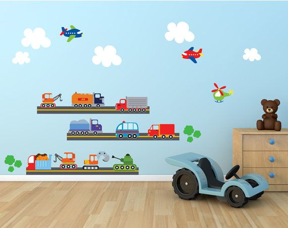 Cars Planes Wall Decal, Transportation Fabric Wall Decals, Boys Wall Decal, REUSABLE Fabric Decal, 801 on Etsy, $83.57 CAD