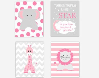 Baby Girl Nursery Art Pink Elephant Giraffe Lion Twinkle Twinkle Little Star Jungle Safari Animals Baby Nursery Decor Prints CHOOSE COLORS