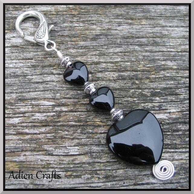 Black Gemstone Heart Bag Charm