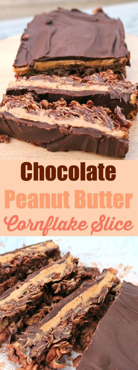 Chocolate peanut butter cornflake slice - no-bake yumminess! #peanutbutter #chocolate #nobake