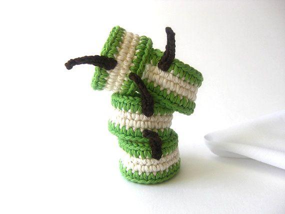 Зеленая груша кольцо Салфетка фрагмент.  Крем Салат Vegan Сок вязания крючком Декор фруктов Collection - набор из 4